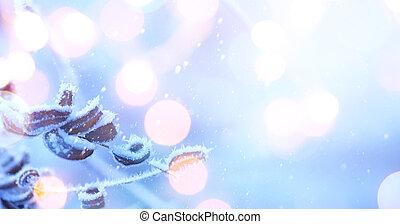 karácsony, ünnepek, fény, background;, kék, karácsony
