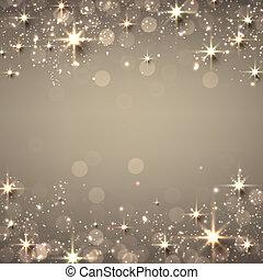 karácsony, arany-, csillagos, háttér.