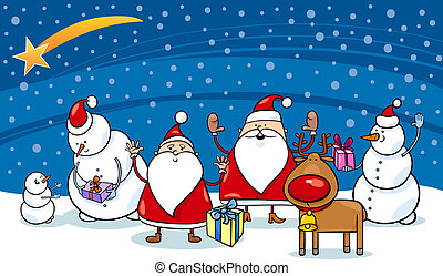 karácsony, betűk, karikatúra