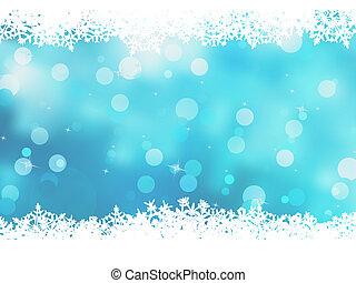karácsony, blue háttér, noha, hó, flakes., eps, 8