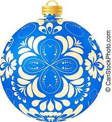 karácsony, blue labda, white, háttér., vektor, ábra