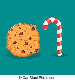 karácsony, bot, élelmiszer, cookies., delicacy., cukorka, aláír, year., borsosmenta, kellemes, új, celebratory, ünnep, kieszel, cukorka, cookie.