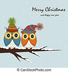 karácsony, card., baglyok, képben látható, a, fa