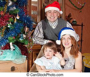 karácsony, család, három, fa