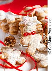 karácsony, csiricsáré süti, ember, noha, piros szalag, csomó