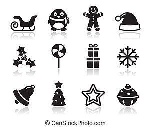 karácsony, dél, fekete, árnyék, ikonok