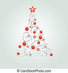 karácsony, díszes, fa