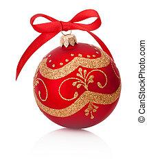 karácsony, elszigetelt, íj, dekoráció, szalag, háttér, fehér, csecsebecse, piros