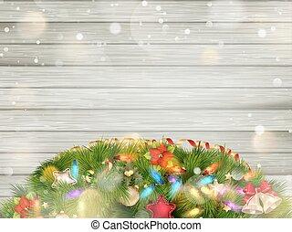 karácsony, erdő, noha, snow., eps, 10