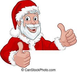 karácsony, felett, fiatal, aláír, kandikál, szent, karikatúra