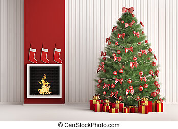 karácsony, fenyő fa, és, kandalló, 3, render