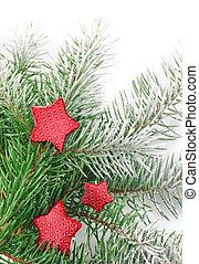karácsony, firtree, noha, piros, csillaggal díszít, és, white hó
