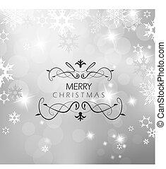 karácsony, flakes., hó, háttér, ezüst