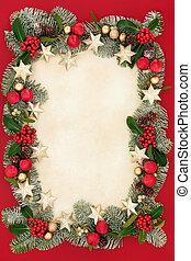 karácsony, floral határ, és, dekoráció
