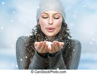 karácsony, girl., tél, nő, fújás, hó