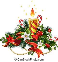 karácsony, gyertya csillogó