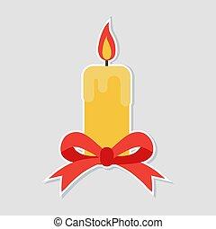 karácsony, gyertya, noha, egy, piros vonó, képben látható, egy, fehér, háttér., lakás, tervezés, style., vektor, illustration.