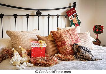 karácsony, hálószoba, belső