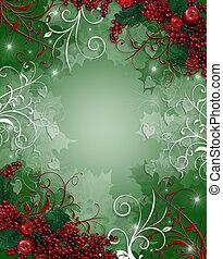 karácsony, háttér, holly berries