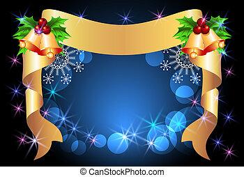 karácsony, háttér, noha, arany-, szalag