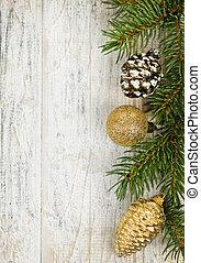 karácsony, háttér, noha, dísztárgyak, képben látható, elágazik