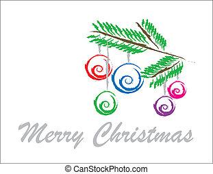 karácsony, háttér, noha, dísztárgyak