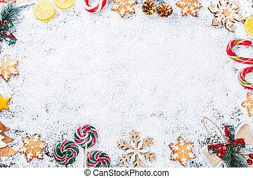 karácsony, háttér, noha, gyömbéres mézeskalács, hópihe, white hó, apró, citrom, cukorka, és, újév, decor., tél holiday, keret, képben látható, egy, fekete, wooden asztal