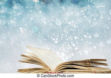 karácsony, háttér, noha, varázslatos, könyv