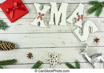 karácsony, háttér, tehetség, szöveg, lakás, karácsony, dal, természetes, fehér, keret, dekoráció, erdő, piros, más, doboz