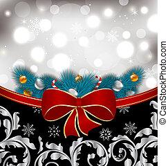 karácsony, hagyományos, háttér, noha, dekoráció