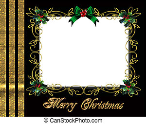 karácsony, határ, fénykép keret