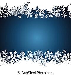 karácsony, határ, hópehely, tervezés, háttér.