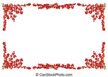 karácsony, határ, noha, piros berries