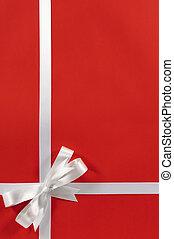 karácsony, határ, piros háttér, tehetség vonó, szalag, függőleges