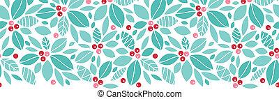 karácsony, holly berries, horizontális, seamless, motívum,...