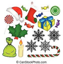 karácsony, ikon, jelkép, design., vektor, ábra, elszigetelt, white, háttér.