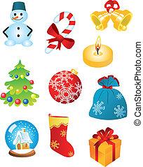 karácsony, ikonok, és, jelkép
