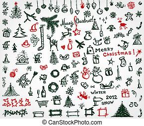 karácsony, ikonok, skicc, rajz, helyett, -e, tervezés