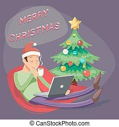 karácsony, kávécserje, tea, laptop, ábra, karikatúra, geek, buzgó, vektor, tervezés, retro, ember, hódprém, iszik, jelkép, ikon
