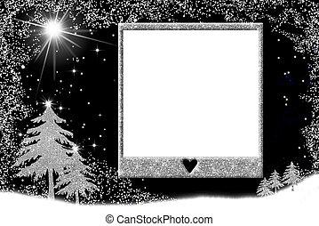 karácsony, képkeret, kártya