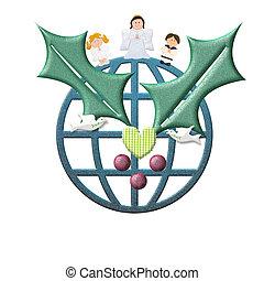 karácsony, köszönés kártya, béke, alatt, világ