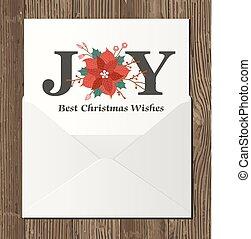 karácsony, köszönés kártya, noha, boríték