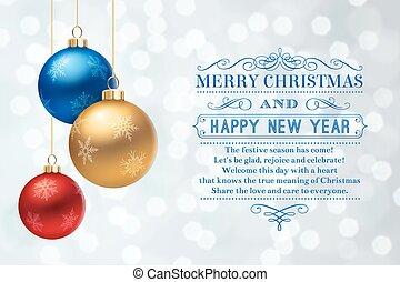 karácsony, köszönés kártya, noha, dekoratív, herék, és, szöveg