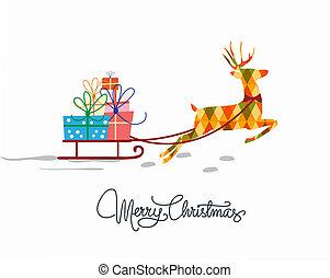 karácsony, köszönés kártya, sablon, alatt