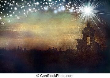 karácsony, köszönés kártya, templom, és, csillag