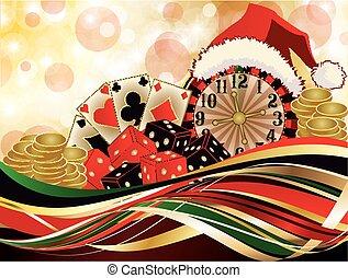 karácsony, kaszinó, köszönés, backgroun