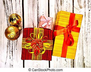 karácsony, keret, christmas dekoráció, doboz, tető kilátás, tehetség, horizontális