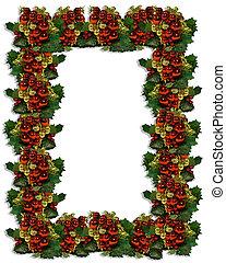 karácsony, keret, közül, dísztárgyak