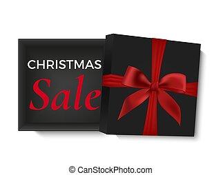 karácsony, kiárusítás, design., kinyitott, fekete, gyakorlatias, 3, tehetség ökölvívás, noha, piros szalag, és, íj, elszigetelt, white, háttér., poszter, kártya, vagy, brosúra, template., vektor, illustration.
