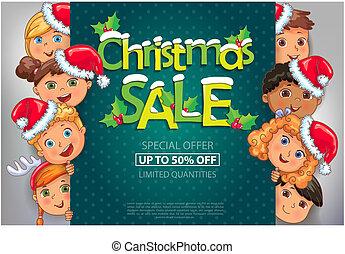 karácsony, kiárusítás, tervezés, noha, csinos, gyerekek